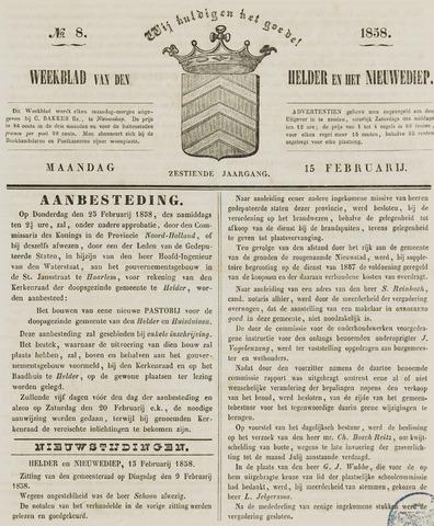Weekblad van Den Helder en het Nieuwediep 1858-02-15