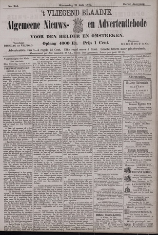 Vliegend blaadje : nieuws- en advertentiebode voor Den Helder 1875-07-21