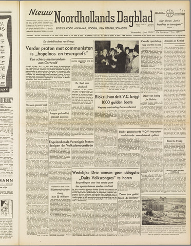 Nieuw Noordhollandsch Dagblad : voor Alkmaar en omgeving 1949-06-01