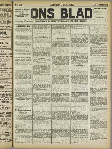 Ons Blad : katholiek nieuwsblad voor N-H 1916-05-09