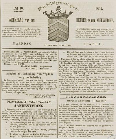 Weekblad van Den Helder en het Nieuwediep 1857-04-13