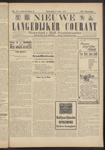 Nieuwe Langedijker Courant 1927-07-09