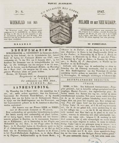 Weekblad van Den Helder en het Nieuwediep 1847-02-22