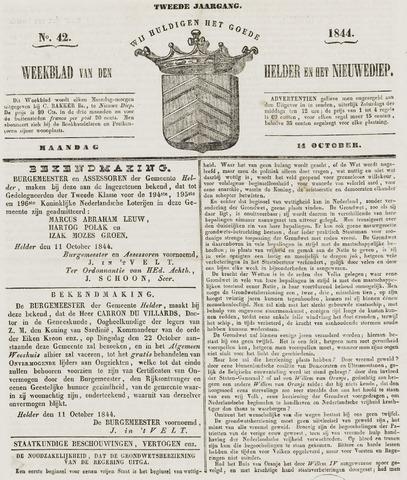 Weekblad van Den Helder en het Nieuwediep 1844-10-14