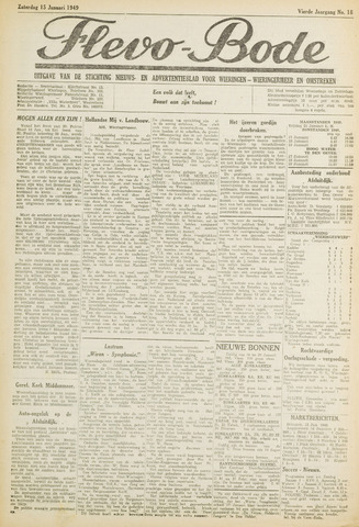 Flevo-bode: nieuwsblad voor Wieringen-Wieringermeer 1949-01-15
