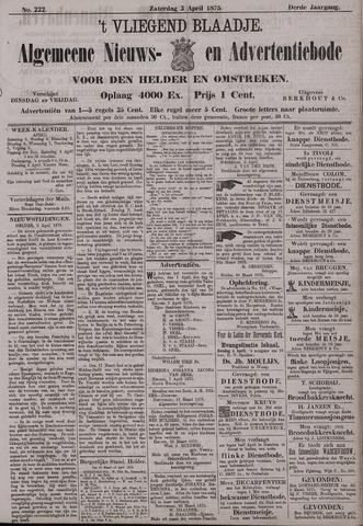 Vliegend blaadje : nieuws- en advertentiebode voor Den Helder 1875-04-03