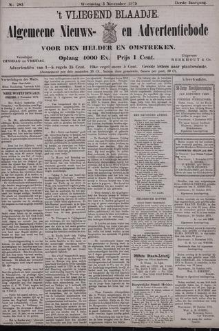 Vliegend blaadje : nieuws- en advertentiebode voor Den Helder 1875-11-03
