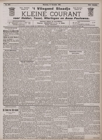 Vliegend blaadje : nieuws- en advertentiebode voor Den Helder 1902-11-19
