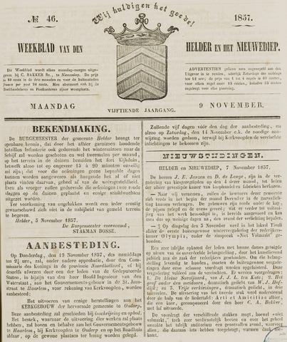 Weekblad van Den Helder en het Nieuwediep 1857-11-09