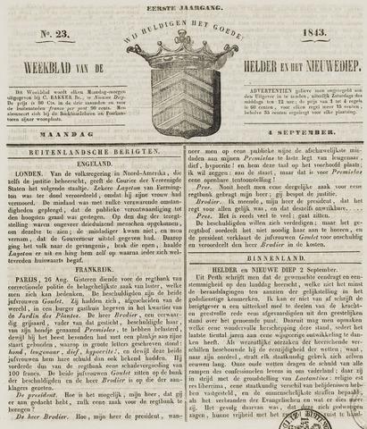 Weekblad van Den Helder en het Nieuwediep 1843-09-04