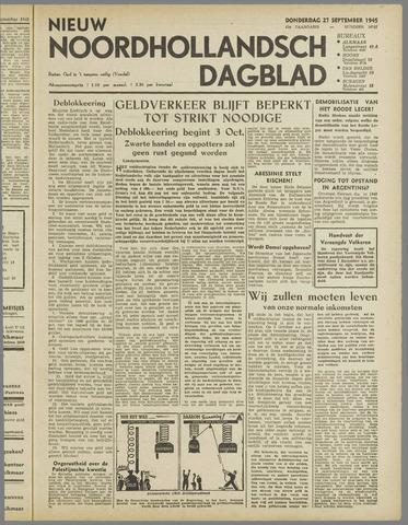 Nieuw Noordhollandsch Dagblad : voor Alkmaar en omgeving 1945-09-27