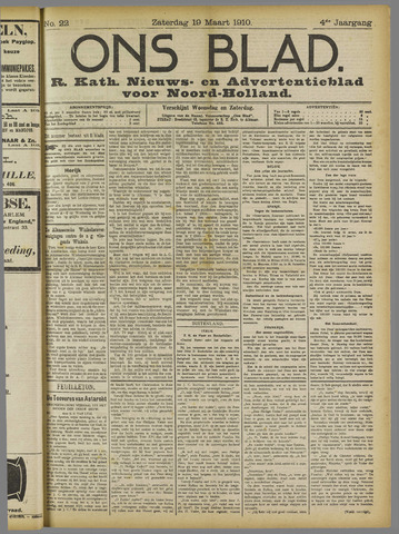 Ons Blad : katholiek nieuwsblad voor N-H 1910-03-19