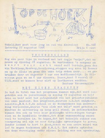 Op De Hoek, weekblad voor Akersloot 1956-08-25