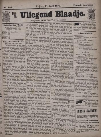 Vliegend blaadje : nieuws- en advertentiebode voor Den Helder 1879-04-18