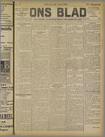 Ons Blad : katholiek nieuwsblad voor N-H 1916-06-20