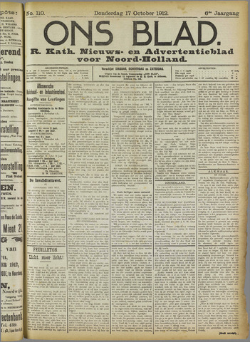 Ons Blad : katholiek nieuwsblad voor N-H 1912-10-17
