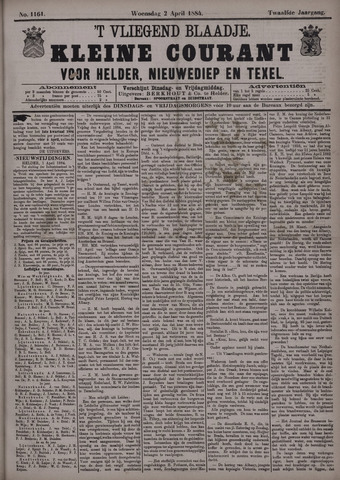 Vliegend blaadje : nieuws- en advertentiebode voor Den Helder 1884-04-02