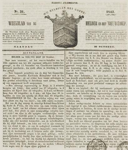 Weekblad van Den Helder en het Nieuwediep 1843-10-30