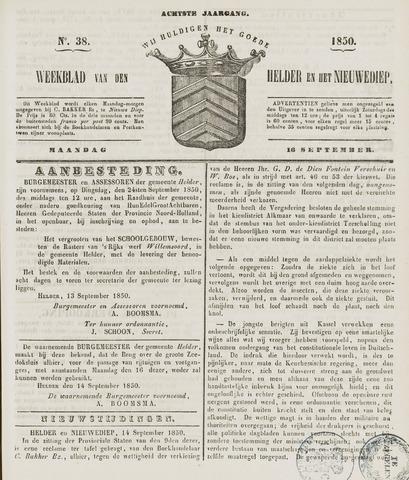 Weekblad van Den Helder en het Nieuwediep 1850-09-16