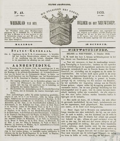 Weekblad van Den Helder en het Nieuwediep 1853-10-10