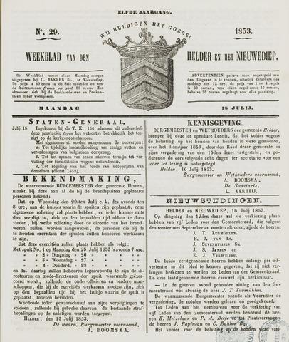 Weekblad van Den Helder en het Nieuwediep 1853-07-18