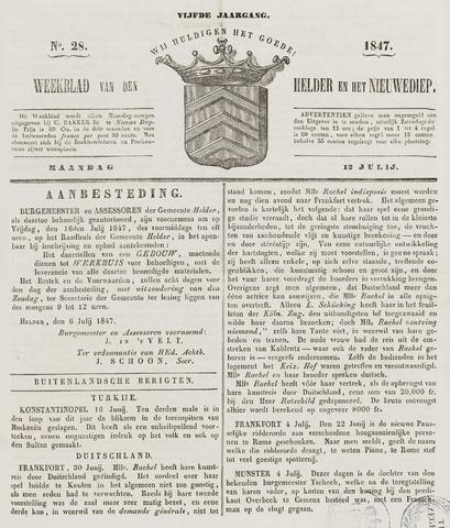 Weekblad van Den Helder en het Nieuwediep 1847-07-12