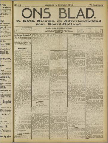 Ons Blad : katholiek nieuwsblad voor N-H 1913-02-04
