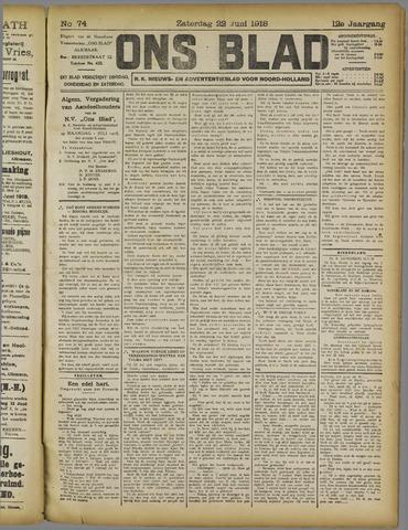 Ons Blad : katholiek nieuwsblad voor N-H 1918-06-22