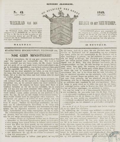 Weekblad van Den Helder en het Nieuwediep 1849-10-15