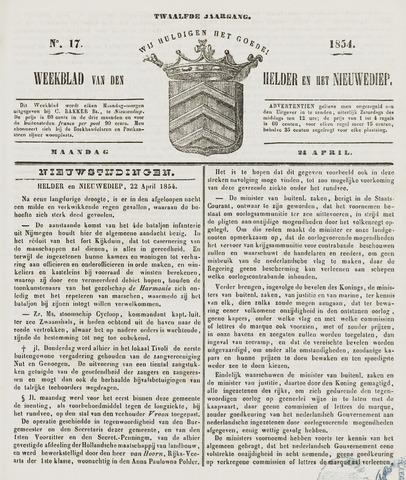 Weekblad van Den Helder en het Nieuwediep 1854-04-24