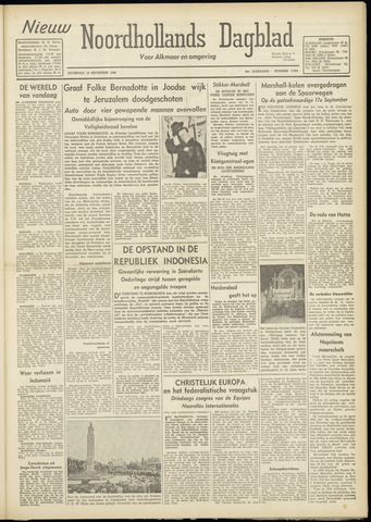 Nieuw Noordhollandsch Dagblad : voor Alkmaar en omgeving 1948-09-18