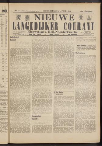 Nieuwe Langedijker Courant 1931-04-16
