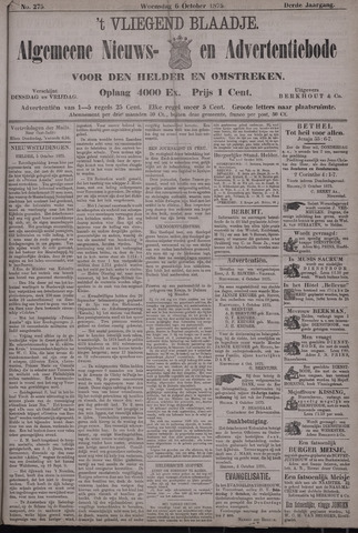 Vliegend blaadje : nieuws- en advertentiebode voor Den Helder 1875-10-06