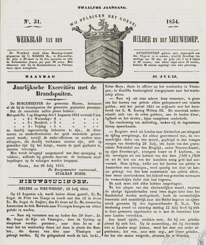 Weekblad van Den Helder en het Nieuwediep 1854-07-31