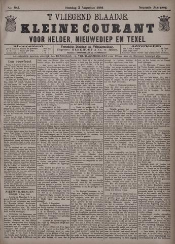 Vliegend blaadje : nieuws- en advertentiebode voor Den Helder 1881-08-02