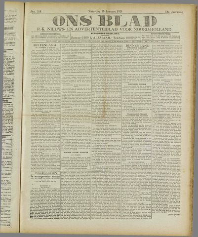 Ons Blad : katholiek nieuwsblad voor N-H 1921-01-15