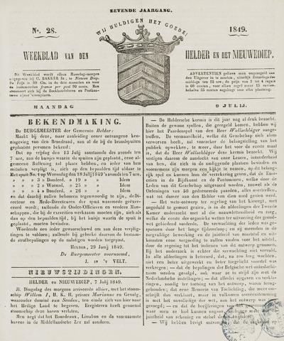 Weekblad van Den Helder en het Nieuwediep 1849-07-09