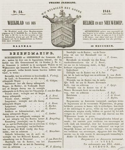 Weekblad van Den Helder en het Nieuwediep 1844-12-16