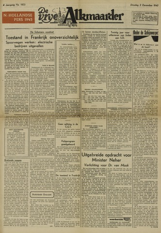 De Vrije Alkmaarder 1947-12-02