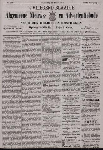 Vliegend blaadje : nieuws- en advertentiebode voor Den Helder 1875-03-24