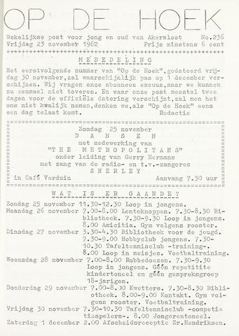 Op De Hoek, weekblad voor Akersloot 1962-11-23