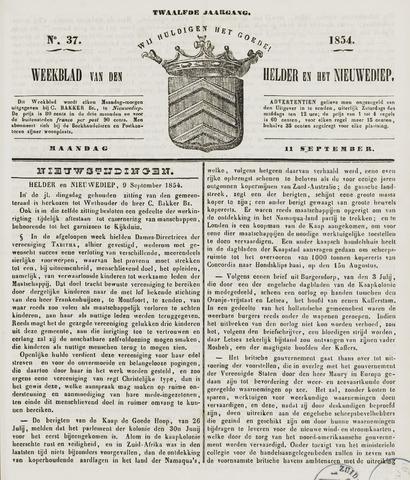 Weekblad van Den Helder en het Nieuwediep 1854-09-11