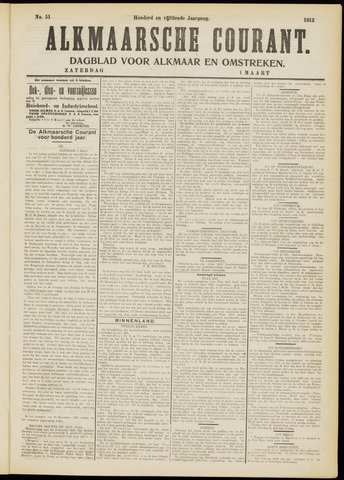 Alkmaarsche Courant 1913-03-01