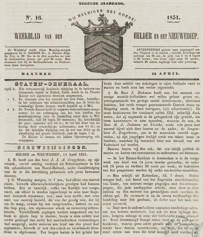 Weekblad van Den Helder en het Nieuwediep 1851-04-14