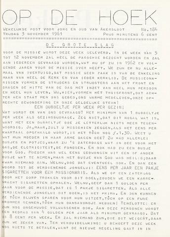 Op De Hoek, weekblad voor Akersloot 1961-11-03
