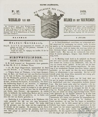 Weekblad van Den Helder en het Nieuwediep 1853-07-04