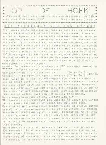 Op De Hoek, weekblad voor Akersloot 1962-02-02