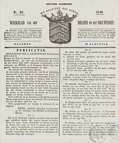 Weekblad van Den Helder en het Nieuwediep 1849-08-27