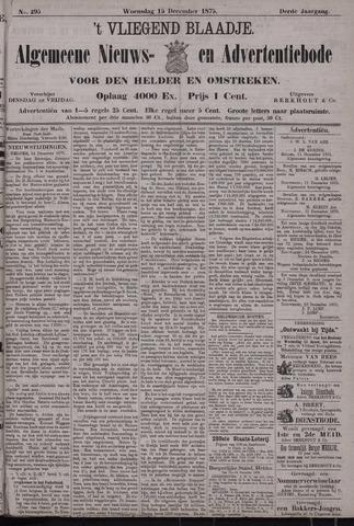 Vliegend blaadje : nieuws- en advertentiebode voor Den Helder 1875-12-15