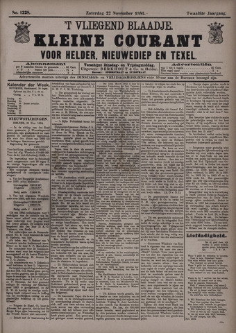 Vliegend blaadje : nieuws- en advertentiebode voor Den Helder 1884-11-22